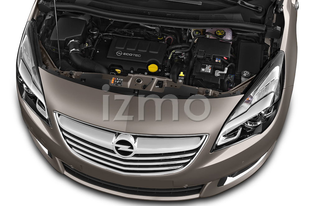 High Angle Engine Detail 2014 Opel MERIVA Cosmo 5 Door Mini MPV 2WD Stock Photo