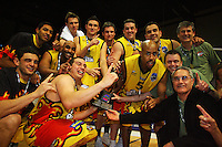 The Pistons celebrate the win during game two of the NBL Final basketball match between the Wellington Saints and Waikato Pistons at TSB Bank Arena, Wellington, New Zealand on Friday 20 June 2008. Photo: Dave Lintott / lintottphoto.co.nz