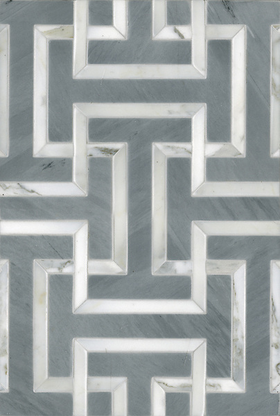 Name: Windsor<br /> Style: Classic<br /> Product Number: CB0929WINDSOR (12&quot;x18&quot;)<br /> Description: Windsor , a water jet natural stone mosaic, in Calacatta Tia polished and Bardiglio honed.