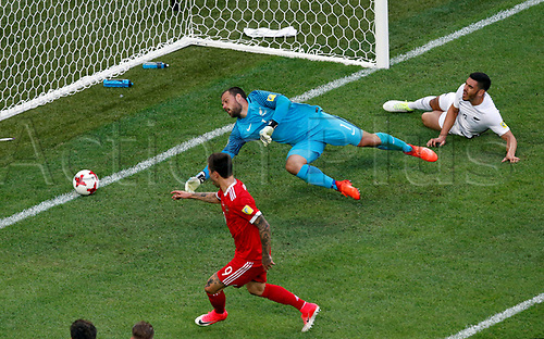 17th June 2017, St Petersburg, Russia;  FIFA 2017 Confederations Cup football, Russia versus New Zealand;  Group A - Saint Petersburg Stadium, Russia's Fedor Smolov scores their second goal