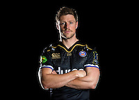 Rhys Priestland poses for a portrait in the 2015/16 European kit during a Bath Rugby photocall on December 1, 2015 at Farleigh House in Bath, England. Photo by: Patrick Khachfe / Onside Images