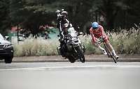 Soren Kragh Andersen (DEN) speeding into a corner<br /> <br /> U23 Men TT<br /> UCI Road World Championships / Richmond 2015