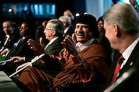 Ex-Libyan leader Moamer Kadhafi gesture during the  European Union and Africa summit 08 December 2007, in Lisbon.