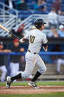 West Virginia Black Bears first baseman Chris Harvey (10) at bat during a game against the Batavia Muckdogs on June 28, 2016 at Dwyer Stadium in Batavia, New York.  Batavia defeated West Virginia 3-1.  (Mike Janes/Four Seam Images)