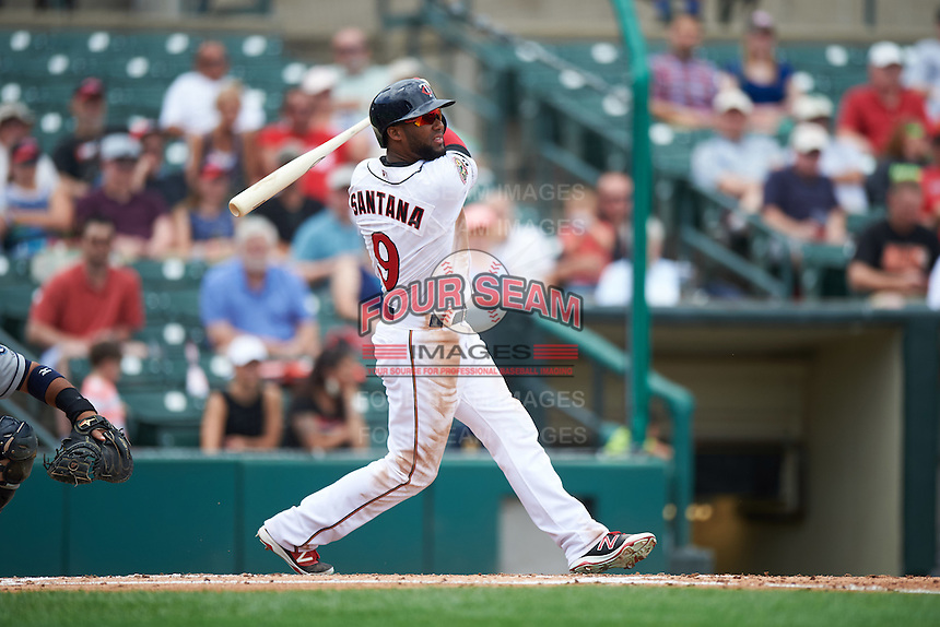 Rochester Red Wings second baseman Danny Santana (9) at bat during a game against the Columbus Clippers on June 16, 2016 at Frontier Field in Rochester, New York.  Rochester defeated Columbus 6-2.  (Mike Janes/Four Seam Images)