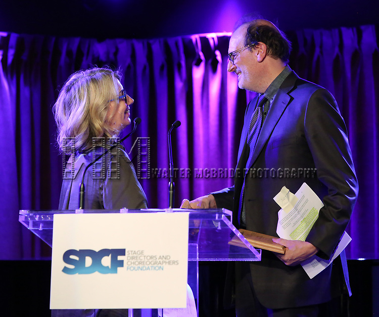 Laura Penn and Arthur Rotch on stage during the Second Annual SDCF Awards, A celebration of Excellence in Directing and Choreography, at the Green Room 42 on November 11, 2018 in New York City.