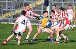 04-03-12: Peter Kelleher,  De La Salle Macroom, is surrounded by Tomas O'Suilleabhain, Dara O'Se, Padraig O'Se, Maitiu O'Flaharta and Eanna O'Conchuir, Pobal Scoil Chorcha Dhuibhne ,   in the  Munster Colleges Corn Uí Mhuiri Final  at Fitzgerald Stadium, Killarney on Sunday.   Picture: Eamonn Keogh (MacMonagle, Killarney)