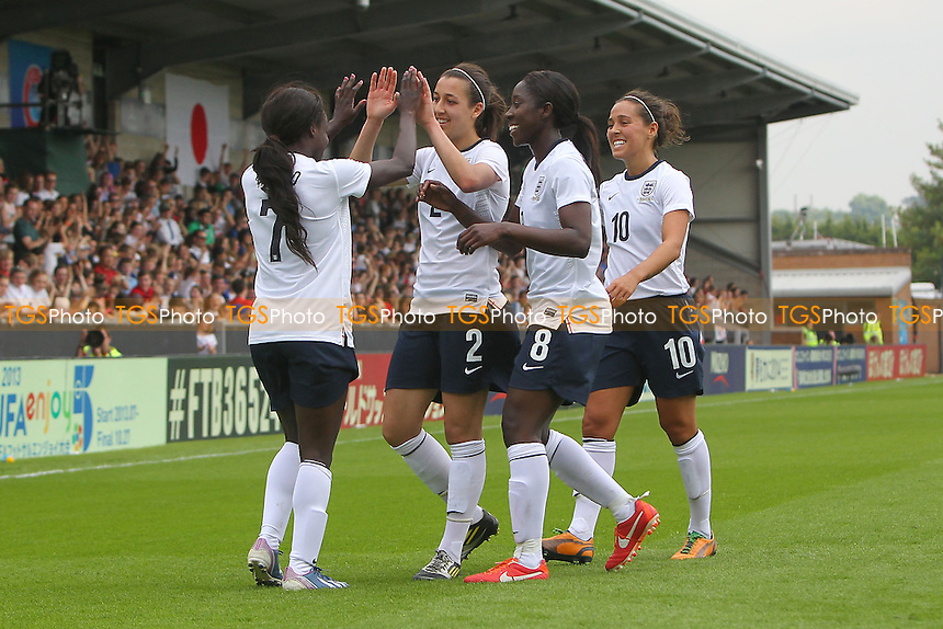 Eniola Aluko scores the first goal for England and celebrates  with her team mates - England Women vs Japan Women - Friendly Football International at the Pirelli Stadium, Burton Albion FC - 26/06/13 - MANDATORY CREDIT: Gavin Ellis/TGSPHOTO - Self billing applies where appropriate - 0845 094 6026 - contact@tgsphoto.co.uk - NO UNPAID USE