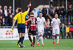 V&auml;llingby 2014-03-30 Fotboll Allsvenskan IF Brommapojkarna - Kalmar FF :  <br />  Brommapojkarnas Jacob Une Larsson f&aring;r r&ouml;tt kort av domaren Jonas Eriksson efter sitt andra gula kort och f&auml;llning av Kalmars M&aring;ns S&ouml;derqvist <br /> (Foto: Kenta J&ouml;nsson) Nyckelord:  BP Brommapojkarna Grimsta Kalmar KFF utvisning r&ouml;tt kort