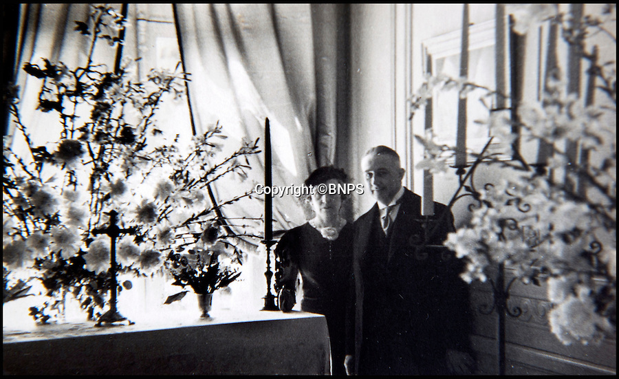 BNPS.co.uk (01202 558833)<br /> Pic: PhilYeomans/BNPS<br /> <br /> In the shadows - Chateau du Cande hosts Charles and Fern Bedaux, he was later arrested as a Nazi collaborator and commited suicide.<br /> <br /> Previously unseen photographs of the most notorious wedding of the twentieth century have come to light - in a secret album only distributed to the small number of guest's.<br /> <br /> The series of candid photographs from the marriage of Edward VIII to his mistress Wallis Simpson in June 1937 have come to light 80 years after the he sparked a constitutional crisis in Britain.<br /> <br /> The intimate photos were taken by Lady Alexandra Metcalfe, wife of Edward's best man Major Edward 'Fruity' Metcalfe, who had assumed the role of unofficial photographer at the simple ceremony.<br /> <br /> The private pictures were distributed only to the handful of guest's at the Chateau, and this set was given to W. Cunningham Graham, the British consul at Nante.<br /> <br /> They show how Edward's marriage to Wallis Simpson was in stark contrast to the opulent weddings that Royal Family members are usually afforded.<br /> <br /> Bellmans auctioneers in Billingshurst, West Sussex are selling the fascinating album on 30th November.