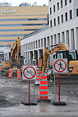 Downtown Montreal city street closed off for infrastructure work