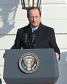 President Francois Hollande of France makes remarks during the State Arrival ceremony on the South Lawn of the White House in Washington, D.C. on Tuesday, February 11, 2014.<br /> Credit: Ron Sachs / CNP
