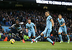 Sergio Aguero of Manchester City scores from the penalty spot - Barclays Premier League - Manchester City vs Newcastle Utd - Etihad Stadium - Manchester - England - 21st February 2015 - Picture Simon Bellis/Sportimage