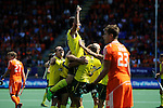 The Hague, Netherlands, June 15: Kieran Govers #27 of Australia is congratulated by teammates after scoring a field goal to give the Kookaburras a 2-1 lead during the field hockey gold match (Men) between Australia and The Netherlands on June 15, 2014 during the World Cup 2014 at Kyocera Stadium in The Hague, Netherlands. Final score 6-1 (2-1)  (Photo by Dirk Markgraf / www.265-images.com) *** Local caption ***
