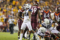 Landover, MD - September 3, 2017: West Virginia Mountaineers cornerback Hakeem Bailey (24) celebrates after making a play during game between Virginia Tech and WVA at  FedEx Field in Landover, MD.  (Photo by Elliott Brown/Media Images International)