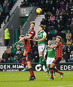 4th November 2017, Easter Road, Edinburgh, Scotland; Scottish Premiership football, Hibernian versus Dundee; Dundee's Jack Hendry out jumps Hibernian's Paul Hanlon