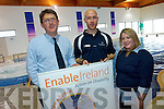 Enable Ireland are inviting everyone to take part in this year's Swimathon to help raise funds for the organisation. .L-R Sean Scally (Fundraiser), Kevin Doyle (Manor West Leisure Centre) and Brid Browne (organiser and assistant physiotherapist with Enable Ireland).