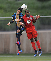 Philadelphia Union forward Josue Martinez (17) heads the ball against D.C. United defender Brandon McDonald (4) The Philadelphia Union defeated D.C. United 2-1in extra time at the round of sixteen of the Lamar Hunt U.S. Open Cup at The Maryland SoccerPlex, Tuesday June 6, 2012.