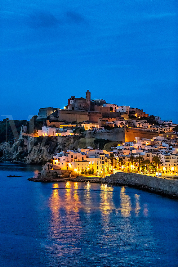 Ibiza Town and the cathedral of Santa Maria d'Eivissa at night, Balearic Islands,  Spain.