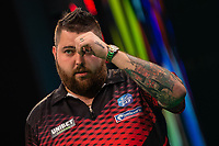 27th October 2019, Gottingen, Lower Saxony, Germany:  PDC European Championships; Semi-final rounds. Michael Smith from England gestures in the game against Price. Photo: Swen Pförtner/dpa | usage worldwide