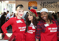 21 December 2018 - Los Angeles, California - Tara Nicole Azarian, Brooke Lewis, Shar Jackson. Los Angeles Mission Christmas Meal for the Homeless held at Los Angeles Mission. Photo Credit: F. Sadou/AdMedia