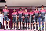 Team Ineos at sign on before the start of Stage 1 of the Route d'Occitanie 2019, running 175.5km from Gignac-Vallée de l'Hérault to Saint-Geniez-d'Olt-et-d'Aubrac , France. 20th June 2019<br /> Picture: Colin Flockton | Cyclefile<br /> All photos usage must carry mandatory copyright credit (© Cyclefile | Colin Flockton)