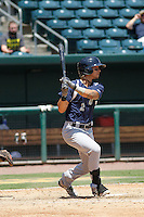 Pensacola Blue Wahoos infielder Juan Perez (2) in action during a game against the Jacksonville Suns at Bragan Field on the Baseball Grounds of Jacksonville on May 11, 2015 in Jacksonville, Florida. Jacksonville defeated Pensacola 5-4. (Robert Gurganus/Four Seam Images)