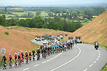 The peloton 5'50&quot; behind the breakaway during Stage 1 of the Criterium du Dauphine 2017, running 170.5km from Saint Etienne to Saint Etienne, France. 4th June 2017. <br /> Picture: ASO/A.Broadway | Cyclefile<br /> <br /> <br /> All photos usage must carry mandatory copyright credit (&copy; Cyclefile | ASO/A.Broadway)
