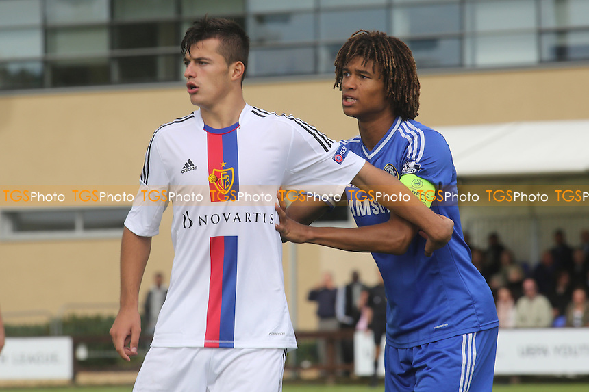 Albian Ajeti of FC Basel and Chelsea's Nathan Ake - Chelsea Under-19 vs FC Basel Under-19 - UEFA Youth League Football at Chelsea FC Cobham Training Ground, Surrey - 18/09/13 - MANDATORY CREDIT: Paul Dennis/TGSPHOTO - Self billing applies where appropriate - 0845 094 6026 - contact@tgsphoto.co.uk - NO UNPAID USE