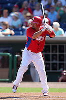 Philadelphia Phillies Shane Victorino #8 during a scrimmage vs the Florida State Seminoles  at Bright House Field in Clearwater, Florida;  February 24, 2011.  Philadelphia defeated Florida State 8-0.  Photo By Mike Janes/Four Seam Images