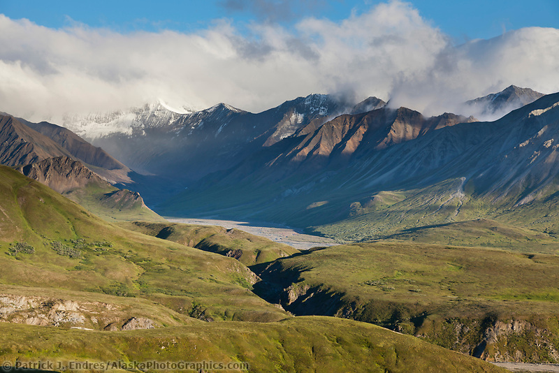 Alaska mountain range hills and Gorge creek drainage near Eielson visitor's center, Denali National Park, interior, Alaska.