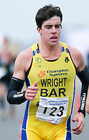 27 MAR 2011 - LOUGHBOROUGH, GBR - Matthew Wright - British Junior Mens Duathlon Championships. Though the first junior male across the finish line, being from Barbados made Wright ineligible for the title (PHOTO (C) NIGEL FARROW)