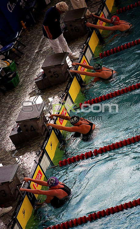 Pix: Matthew Lewis/SWpix.com. ASA National Championships 2001, Cystal Palace Sports Centre. 19/07/2001..COPYWRIGHT PICTURE>>SIMON WILKINSON>>01943 436649>>..Backstroke start