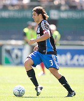 Nick Garcia carries the ball, .Chicago Fire over the San Jose Earthquakes 0-1, Saturday, April 12, 2008, Oakland, California.