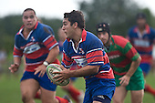 Callum Cook has Suli Taufelele in support as he breaks throught the Waiuku defensive line. Counties Manukau Premier rugby game between Waiuku & Ardmore Marist played at Waiuku on Saturday May 10th 2008..Ardmore Marist won 27 - 6 after leading 10 - 6 at halftime.