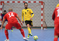 20200129 – Herentals , BELGIUM : Belgian Mohamed Dahbi Reda pictured during a futsal indoor soccer game between Armenia and  the Belgian Futsal Devils of Belgium on the first matchday in group B of the UEFA Futsal Euro 2022 Qualifying or preliminary round , Wednesday 29 th January 2020 at the Sport Vlaanderen sports hall in Herentals , Belgium . PHOTO SPORTPIX.BE | DAVID CATRY