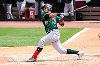 Great Lakes Loons outfielder Romer Cuadrado (25) swings at a pitch during a Midwest League game against the Wisconsin Timber Rattlers on May 12, 2018 at Fox Cities Stadium in Appleton, Wisconsin. Wisconsin defeated Great Lakes 3-1. (Brad Krause/Four Seam Images)