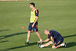 MADRID (24/05/09).- The Spanish Soccer national team has officially begun their hunt for the championship, arriving in the Madrid municipality of Las Rozas to begin preparing for South Africa World Cup.  Sergio Busquets and Victor Valdes...PHOTO: Cesar Cebolla / ALFAQUI