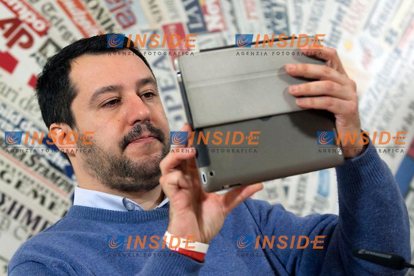 Matteo Salvini<br /> Roma 10-12-2014 Stampa Estera. Incontro con il segretario della Lega Nord.<br /> Secretary of Lega Nord Party in press conference<br /> Photo Samantha Zucchi Insidefoto