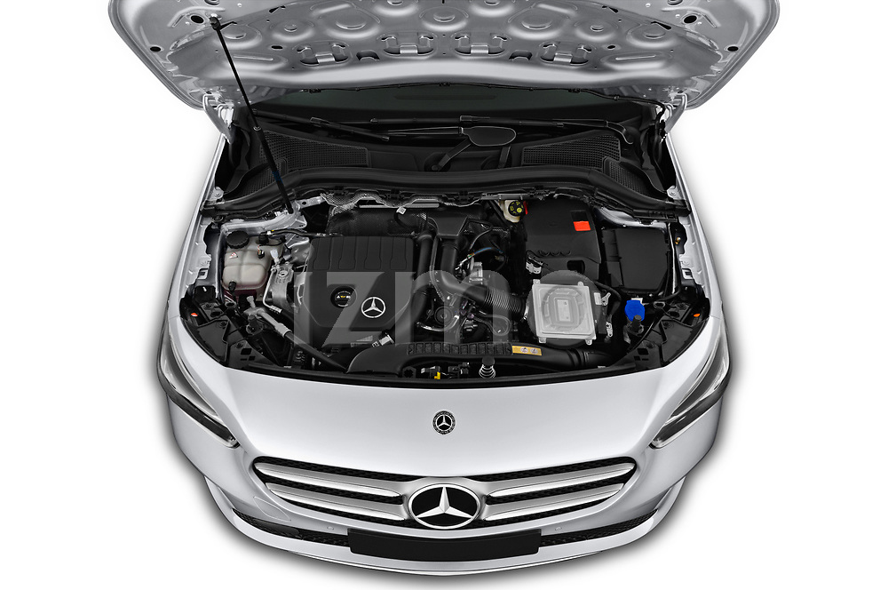 Car Stock 2019 Mercedes Benz B-Class - 5 Door Mini Mpv Engine  high angle detail view