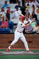 Johnson City Cardinals third baseman Nolan Gorman (4) at bat during a game against the Danville Braves on July 28, 2018 at TVA Credit Union Ballpark in Johnson City, Tennessee.  Danville defeated Johnson City 7-4.  (Mike Janes/Four Seam Images)