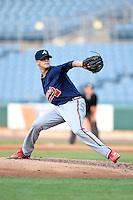 Jon Hughes (10) of Flowery Branch High School in Flowery Branch, Georgia playing for the Atlanta Braves scout team during the East Coast Pro Showcase on August 1, 2014 at NBT Bank Stadium in Syracuse, New York.  (Mike Janes/Four Seam Images)