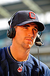6 September 2009: Cleveland Indians' starting pitcher Jeremy Sowers is interviewed prior to a game against the Minnesota Twins at Progressive Field in Cleveland, Ohio. The Indians defeated the Twins 3-1 to take the rubber match of their three-game weekend series. Mandatory Credit: Ed Wolfstein Photo