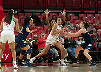 COLLEGE PARK, MD - NOVEMBER 20: Shakira Austin #1 of Maryland holds onto the ball during a game between George Washington University and University of Maryland at Xfinity Center on November 20, 2019 in College Park, Maryland.