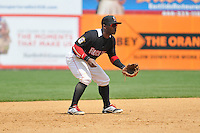 Shortstop Corey Wimberly (1) of the New Britain Rock Cats gets ready in the field during a game against the Trenton Thunder at New Britain Stadium on May 7, 2014 in New Britain, Connecticut.  Trenton defeated New Britain 6-4.  (Gregory Vasil/Four Seam Images)