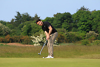 Gerard Dunne (Co. Louth) on the 17th green during Round 4 of the East of Ireland Amateur Open Championship sponsored by City North Hotel at Co. Louth Golf club in Baltray on Monday 6th June 2016.<br /> Photo by: Golffile   Thos Caffrey