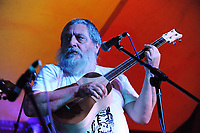 Machynlleth, Wales. 28th July, 2017. <br /> Chilean band Los Hermanos Millar, performing at the marquee on the opening night of the festival.<br /> Photographer; Kevin Hayes