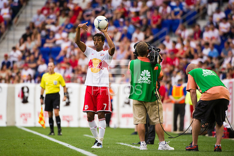 Roy Miller (7) of the New York Red Bulls on a throw in. The New York Red Bulls defeated DC United 3-2 during a Major League Soccer (MLS) match at Red Bull Arena in Harrison, NJ, on June 24, 2012.