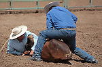 Bob Cornmasser and James Clark compete in the double mugging event at the Minden Ranch Rodeo in Gardnerville, Nev., on Sunday, July 22, 2012..Photo by Cathleen Allison