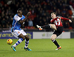 John Fleck of Sheffield United strikes on goal during the English Football League One match at Bramall Lane, Sheffield. Picture date: November 29th, 2016. Pic Jamie Tyerman/Sportimage